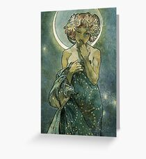 Alphonse Mucha Art Deco Vintage Illustration Greeting Card