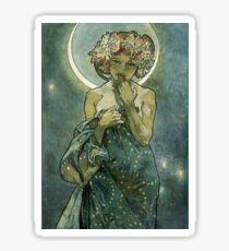 Alphonse Mucha Art Deco Vintage Illustration Sticker
