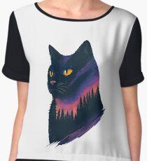 midnight cat Women's Chiffon Top
