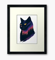 midnight cat Framed Print