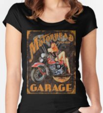 Motorhead Garage Vintage Poster Women's Fitted Scoop T-Shirt