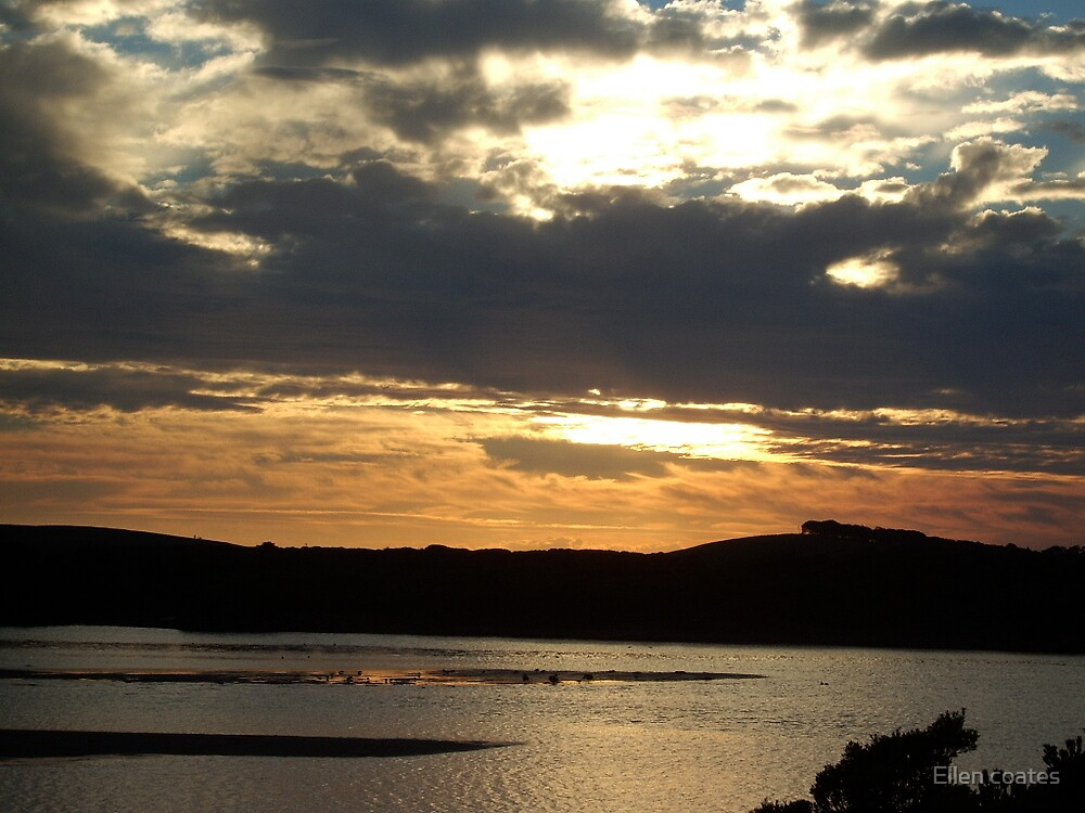 sunset over an estury by Ellen coates