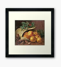 Eloise Harriet Stannard - Still Life With Apples, Hazelnuts And Holly Framed Print