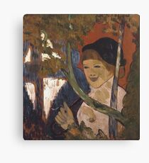 Emile Bernard - Breton Girl With A Red Umbrella 1888 Canvas Print