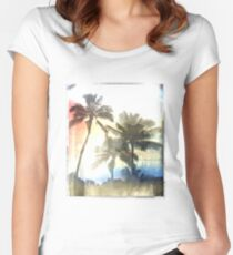 Palm trees T-Shirt Sunset  Women's Fitted Scoop T-Shirt
