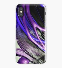Painted background texture with blue and black stripes iPhone Case/Skin