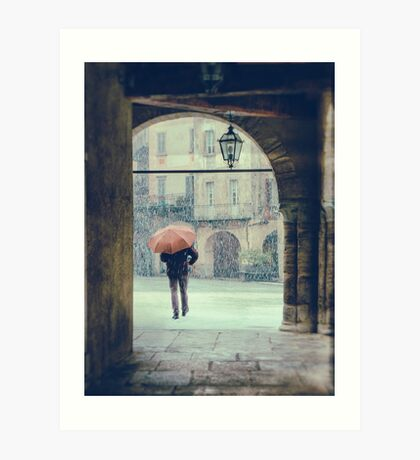 Man with umbrella on a snowy day Art Print