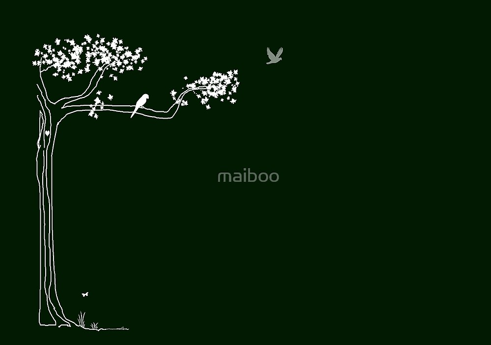 white sketch on Green by maiboo