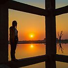 Myanmar. Taungthaman Lake. U Bein Bridge. Under the Bridge. Silhouette. by vadim19
