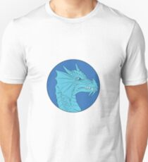 Blue Dragon Head Angry Circle Drawing Unisex T-Shirt