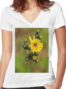 A Spider in a Flower Women's Fitted V-Neck T-Shirt