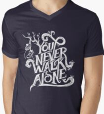 You Never Walk Alone - BTS - White Text (on Blue) T-Shirt