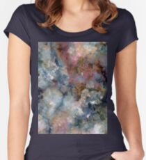 Colorful watercolor nebula onyx Women's Fitted Scoop T-Shirt