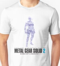 Metal Gear Solid 2 - Sons of Liberty - Raiden Typography  Unisex T-Shirt