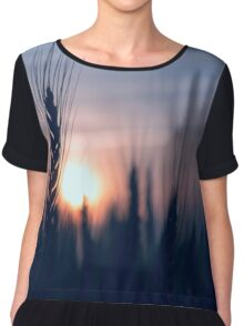 silhouette spike at the rye field at sunset Chiffon Top
