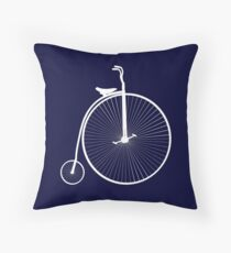 Penny Farthing Bicycle On Navy Blue Throw Pillow