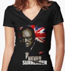 Allied Nations - Winston Churchill Women's Fitted V-Neck T-Shirt