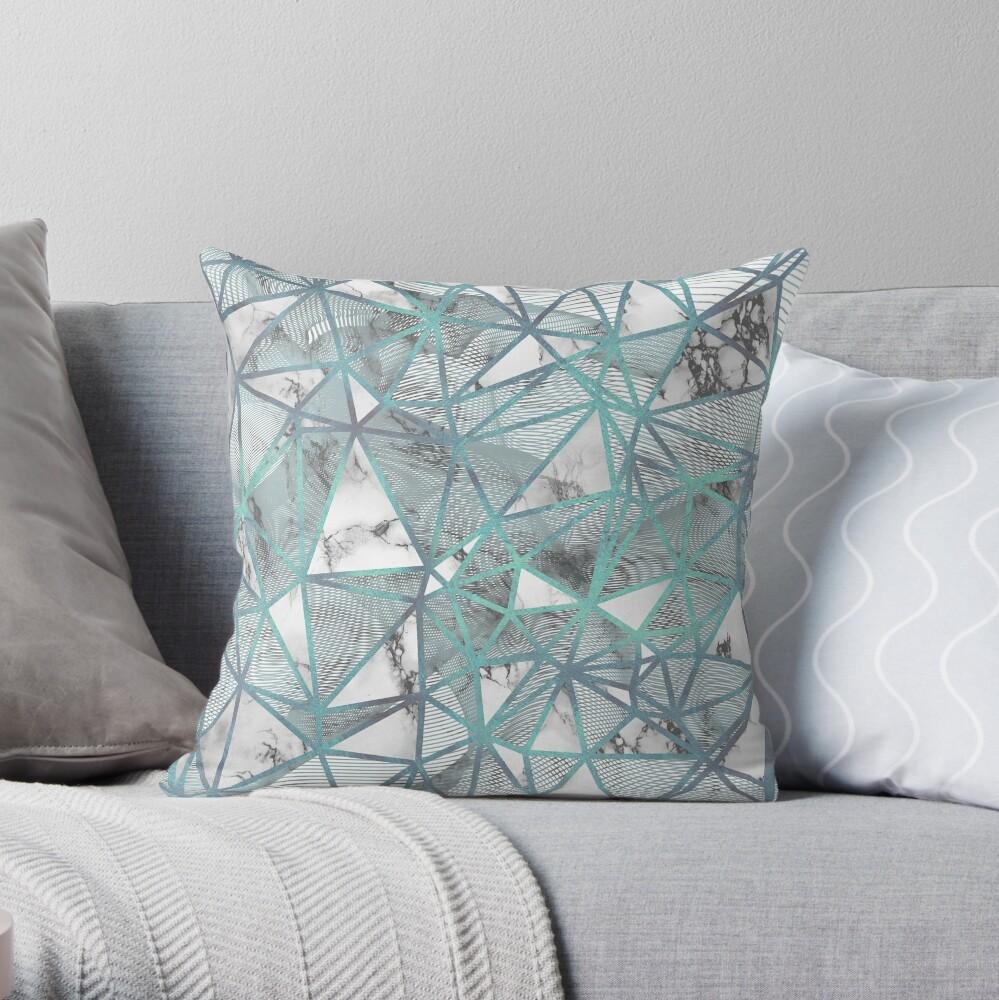 Fractured Marble Pieces Geometric Blue Texture Design Cojín