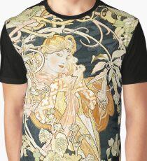 Alphonse Mucha Vintage Art Deco Illustration  Graphic T-Shirt
