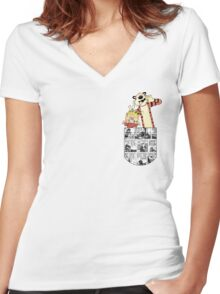 Calvin and Hobbes Pocket Women's Fitted V-Neck T-Shirt