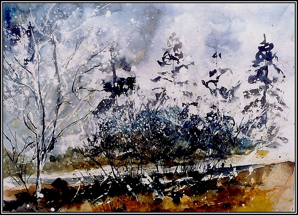 watercolor fir trees and hawthorn by calimero