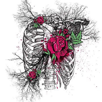 Rib Cage with roses and vessels by ByStreetDesigns