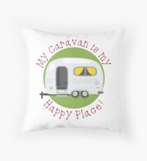 My Caravan is my Happy Place Throw Pillow
