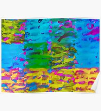 psychedelic graffiti painting abstract in blue yellow green pink Poster