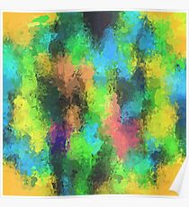 psychedelic graffiti painting abstract in yellow green pink blue Poster