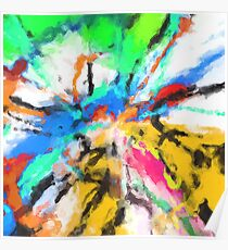 psychedelic graffiti painting abstract in blue green yellow red pink Poster
