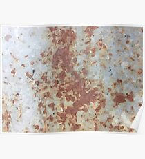 brown rusty surface with blue background Poster