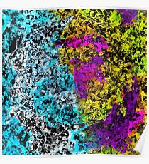 psychedelic graffiti painting abstract in pink yellow blue green Poster