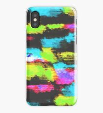 graffiti splash painting abstract in blue green pink black iPhone Case