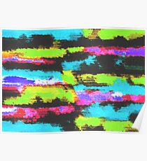 graffiti splash painting abstract in blue green pink black Poster