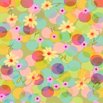 Spring Pastel Bubbles With Yellow and Pink Flowers by LeahQuinnDesign