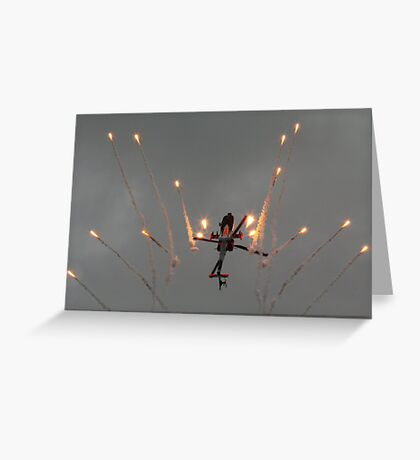 Apache Ah 64-D , deploying anti missile defences Greeting Card