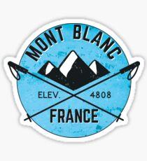 SKIING MONT BLANC FRANCE CHAMONIX Ski Mountain Mountains Skis Silhouette Snowboard Snowboarding Sticker
