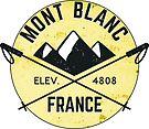 SKIING MONT BLANC FRANCE CHAMONIX Ski Mountain Mountains Skis Silhouette Snowboard Snowboarding 2 by MyHandmadeSigns