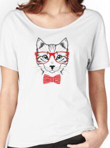 Hipster Cat Funny Geek Nerd Pet Women's Relaxed Fit T-Shirt