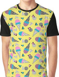 Cruncher - memphis throwback ice cream cone desert 1980s 80s style retro geometric neon pop art Graphic T-Shirt