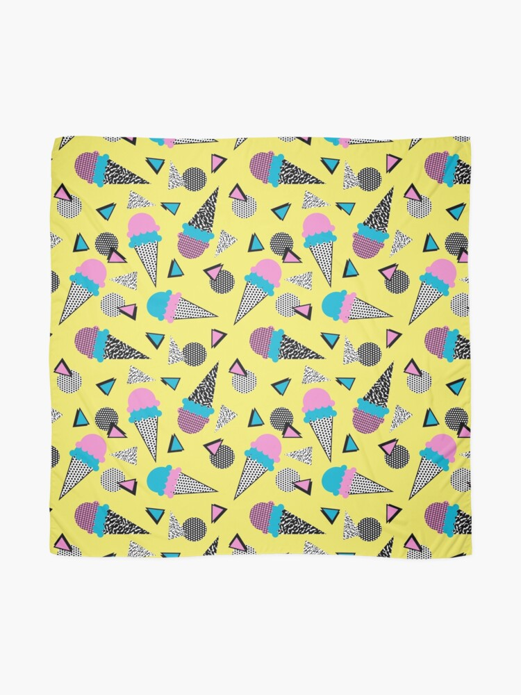 Alternate view of Cruncher - memphis throwback ice cream cone desert 1980s 80s style retro geometric neon pop art Scarf