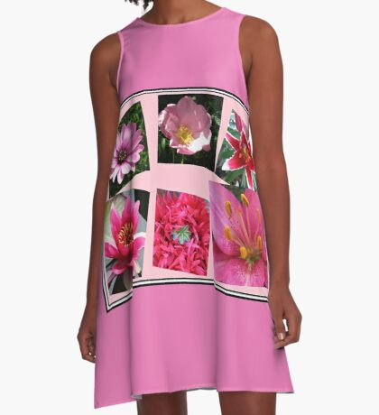 Pink Flowers of Summer Collage A-Linien Kleid
