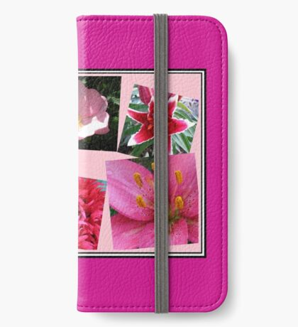 Pink Flowers of Summer Collage iPhone Flip-Case