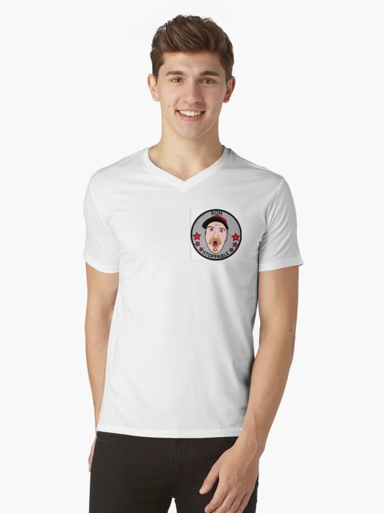 RON STOPPABLE Mens V-Neck T-Shirt Front