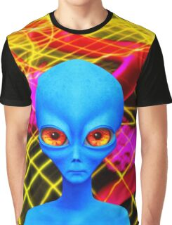 Psychedelic Alien Not So Grey In Blue Graphic T-Shirt