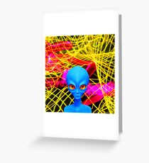 Psychedelic Alien Not So Grey In Blue Greeting Card