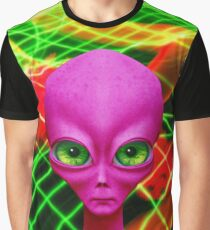 Alien Not So Grey In Magenta Graphic T-Shirt