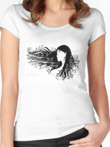 Woman with Music Notes Flowing in Hair Women's Fitted Scoop T-Shirt