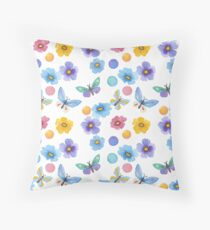 Pattern Butterflies and polka dots . Watercolor .  Throw Pillow