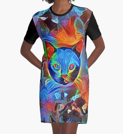 Black cat Graphic T-Shirt Dress